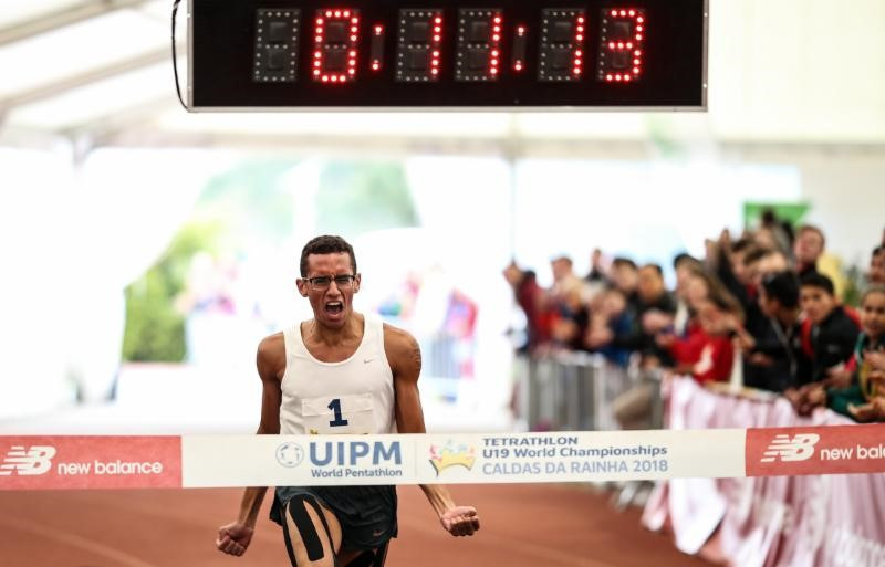 Ahmed Elgendy led an Egyptian clean sweep at the Tetrathlon under-19 World Championships in Portugal ©UIPM