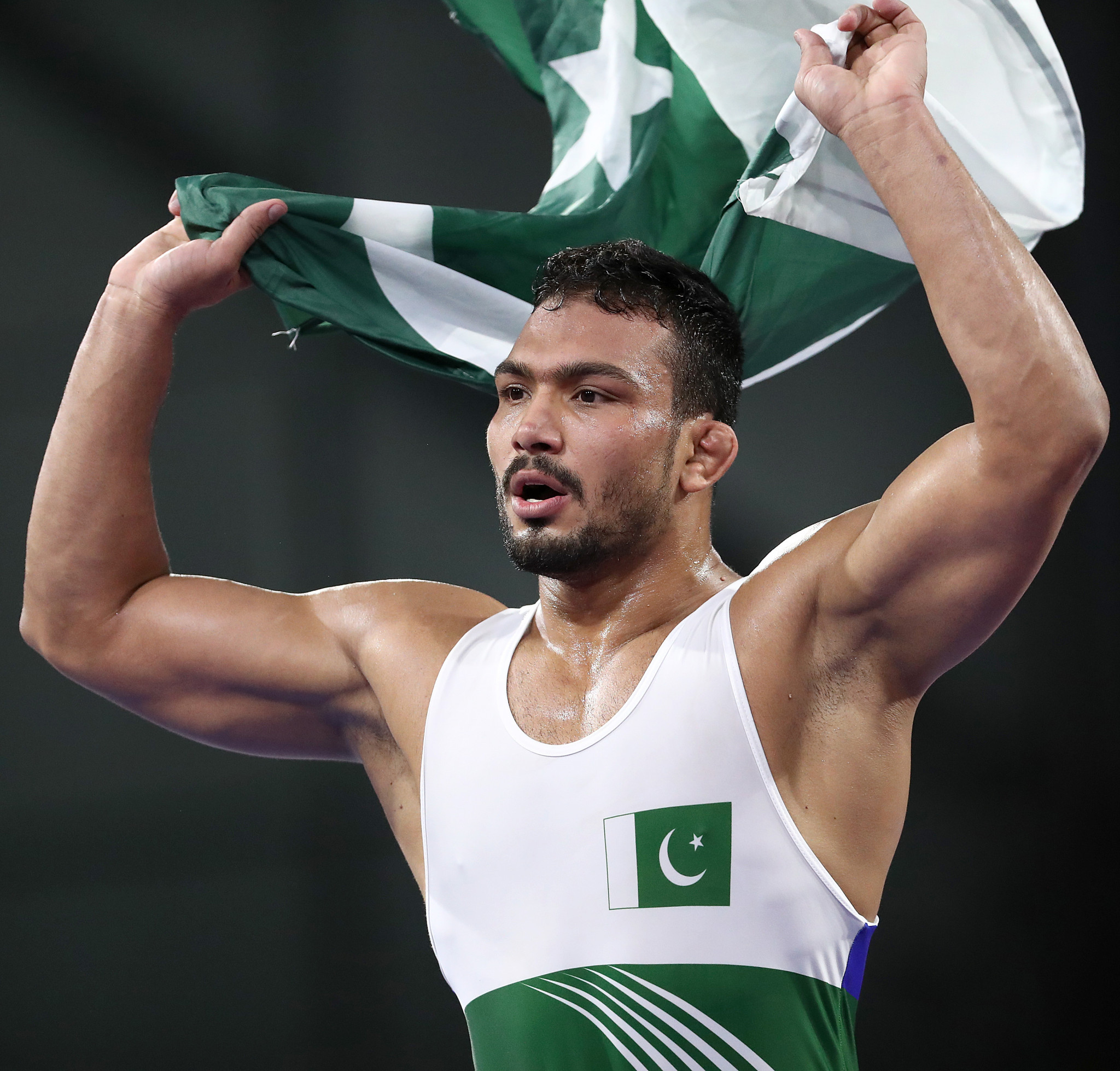 Pakistan's Muhammad Inam tasted victory in the men's 86kg freestyle event to secure his country's first gold medal of Gold Coast 2018 ©Getty Images