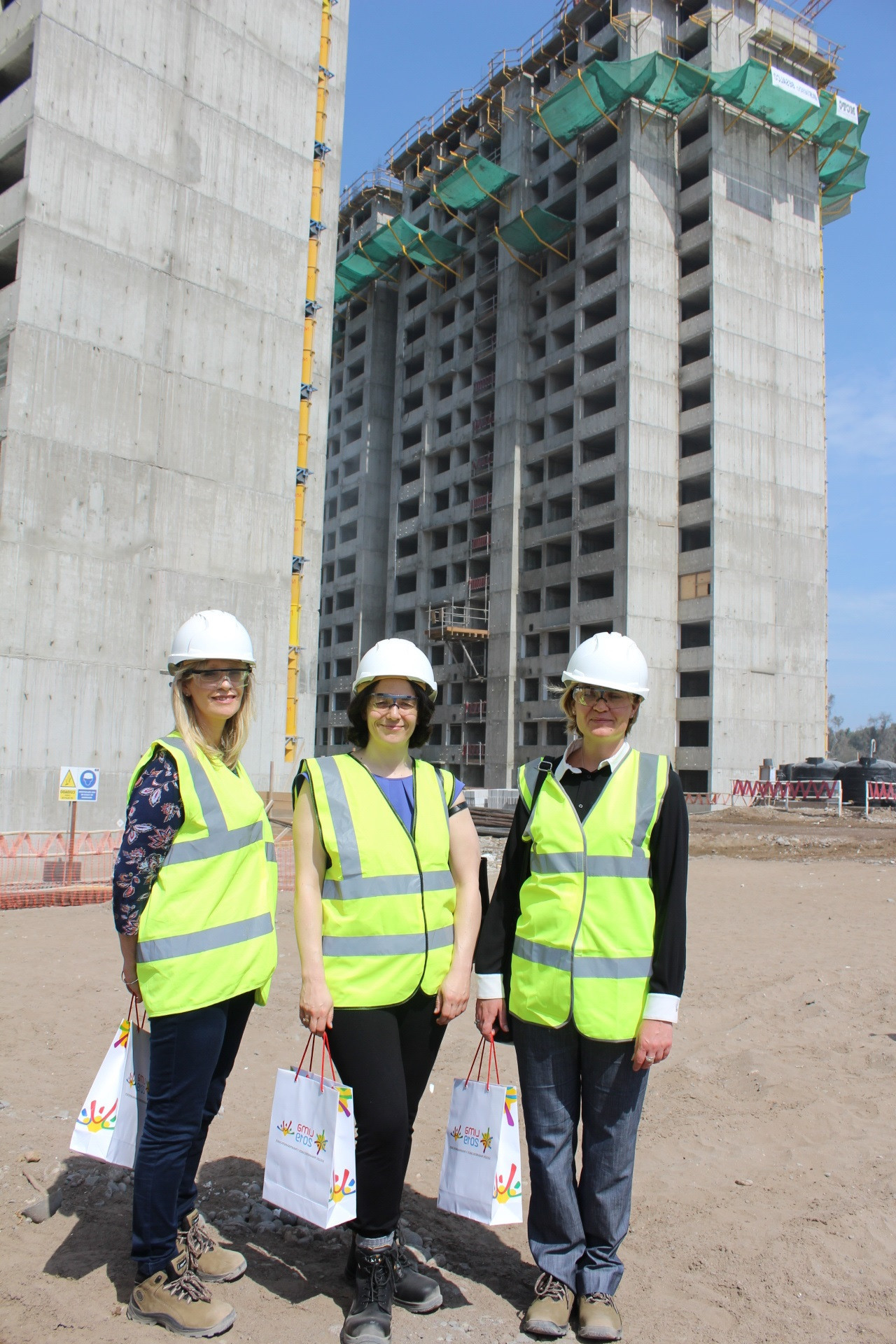 Director of international trade in Peru Francine Torbett, left, and the director general of the UK Department for International Trade Catherine Vaughan, centre, with Kate Harrison, right, at the Pan American Village ©Lima 2019