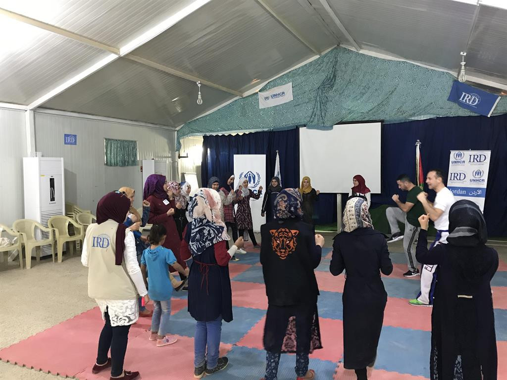 Slovenia's Tomaz Barada, one of the greatest WAKO champions, conducted a sporting workshop for girls ©WAKO