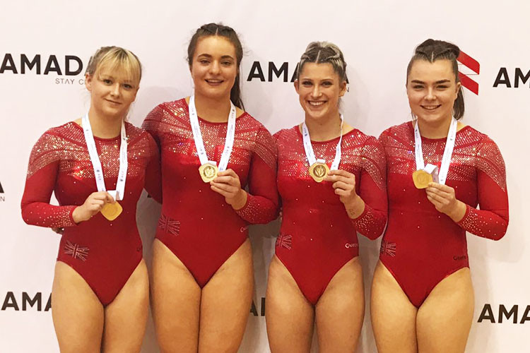 Britain beat Russia to win the gold medal in the women's tumbling at the European Championships in Baku ©British Gymnastics