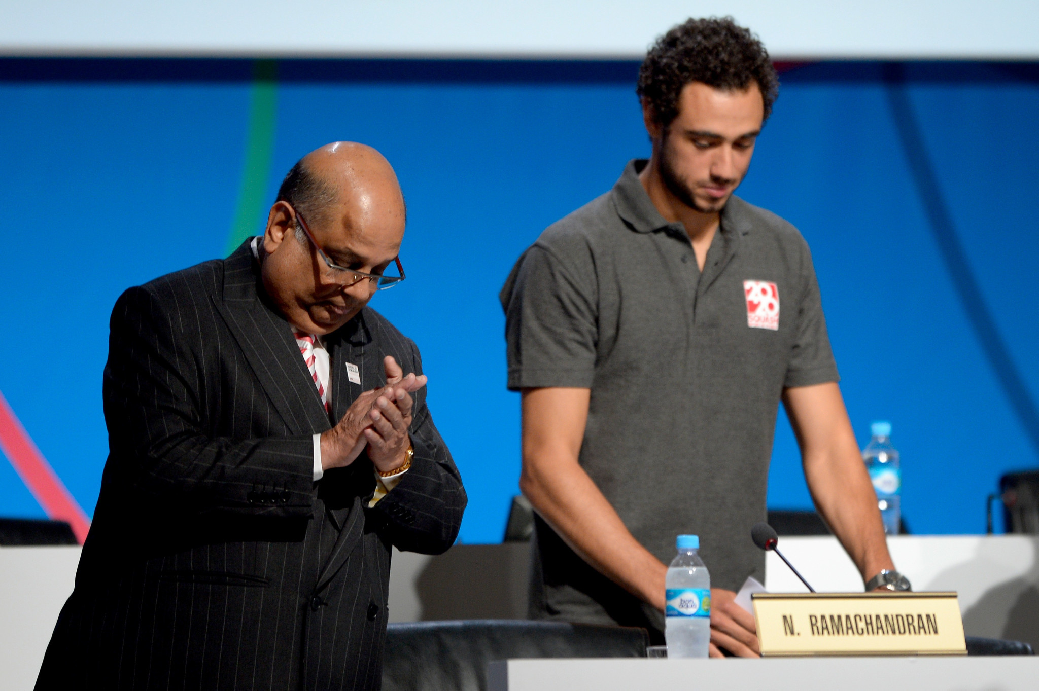 A plea from Egypt's Ramy Ashour, right, was not enough for squash to be added to the Olympic programme at Tokyo 2020 at the 2013 IOC Session in Buenos Aires, where wrestling was retained instead ©Getty Images