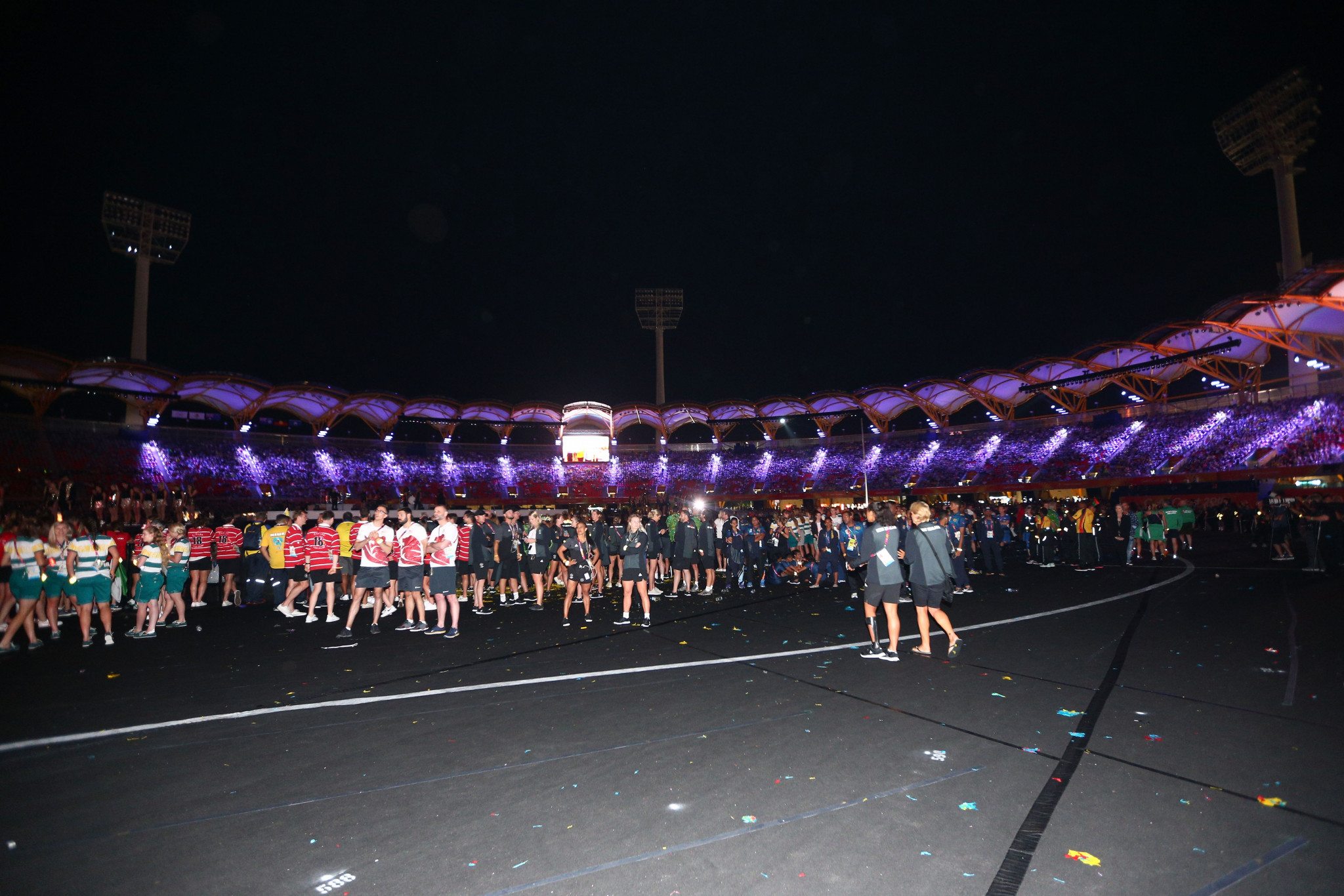 Athletes who competed at the Commonwealth Games here walked into the stadium in the pre-show of the Ceremony and before the spectacle was broadcast live ©Getty Images