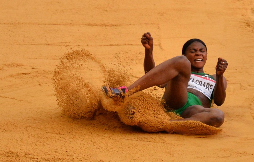 Blessing Okagbare competes for Nigeria in both sprints and long jump