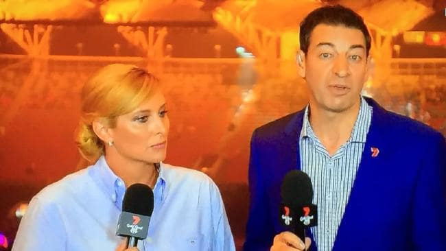 Johanna Griggs and Basil Zempilas from the 7 Commonwealth Games coverage were among those left unimpressed at the Closing Ceremony of Gold Coast 2018 ©Channel 7