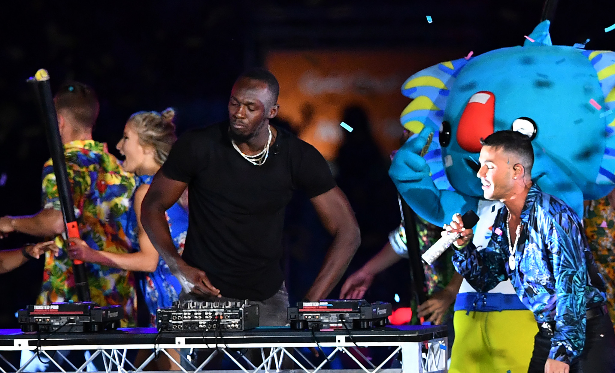 An appearance on the decks by Usain Bolt was a rare highlight of the Gold Coast 2018 Closing Ceremony which was a disappointment to many spectators and television viewers ©Getty Images