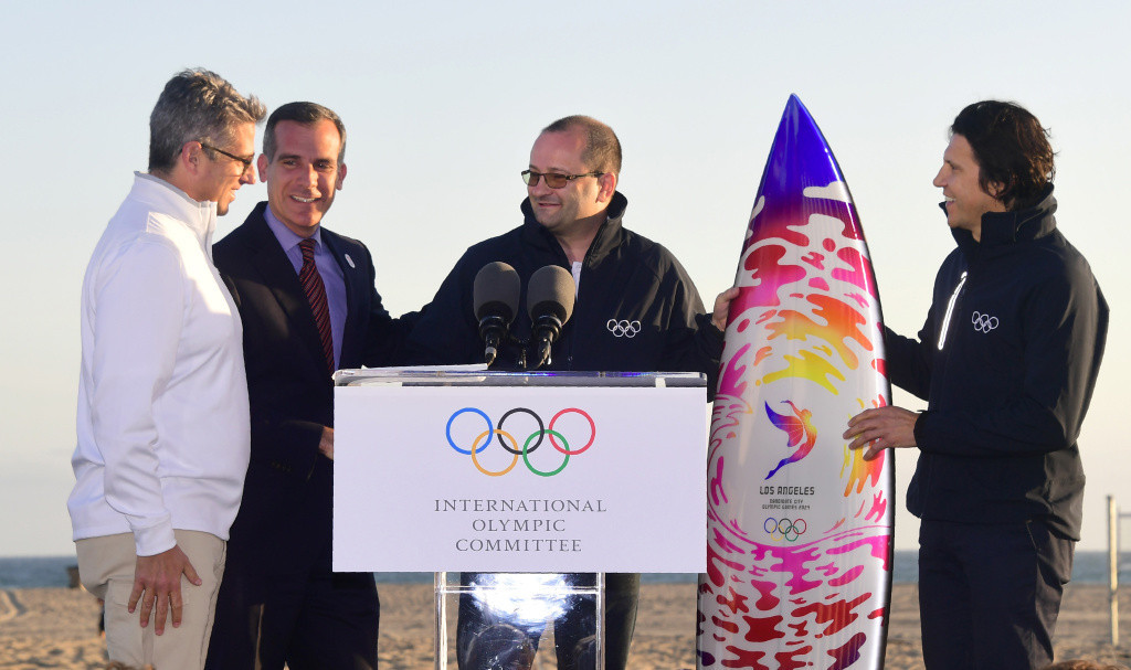 Patrick Baumann, second right, headed the IOC Evaluation Commission for the 2024 Olympic and Paralympic Games and will be chair of the Coordination Commission for Los Angeles 2028 ©Getty Images
