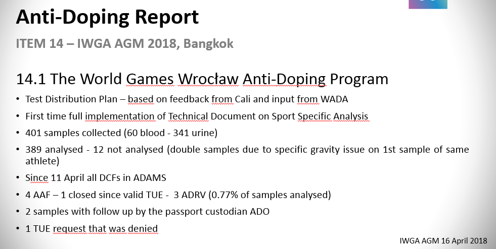 Details of the anti-doping programme at the World Games in Wrocław ©World Games