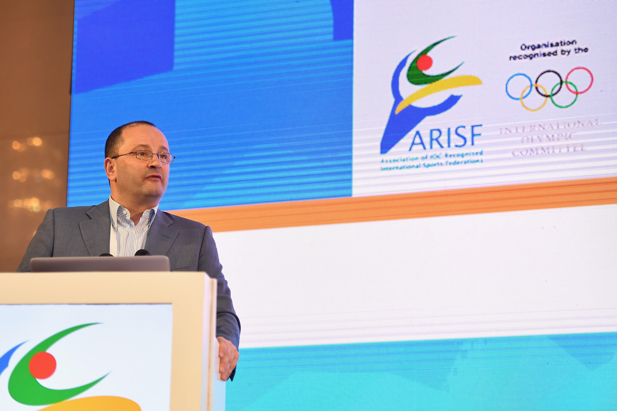 Global Association of International Sports Federations President Patrick Baumann addressed the ARISF AGM ©Getty Images