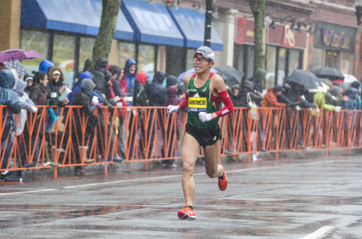 Japan's Yuki Kawauchi heads for his first major marathon victory in a rainswept Boston today ©Getty Images