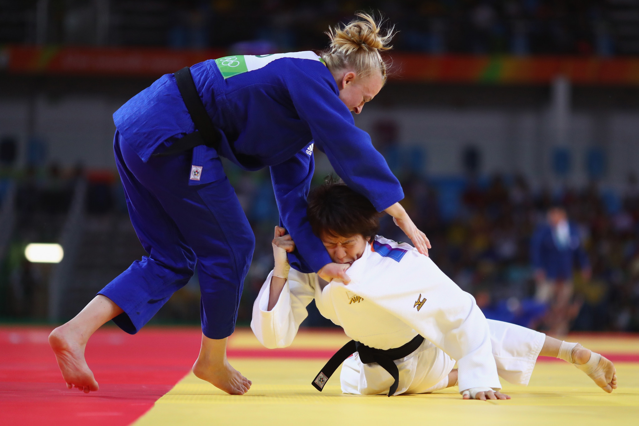 Katharina Haecker, in blue, was one of Australia's winners as they dominated the Oceania Judo Championships in New Caledonia ©Getty Images