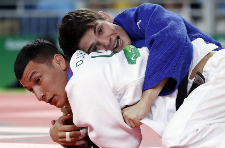 Josh Katz, top, was one of three Rio 2016 Olympians who earned individual wins as Australia dominated the Oceania Judo Championships in New Caledonia ©Getty Images