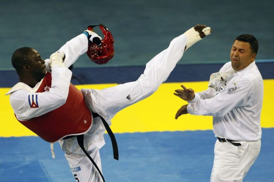 Sweden's Chakir Chelbat was taken to hospital after Cuba's Ángel Matos kicked him in the face following a bout at the 2008 Olympics in Beijing ©Getty Images