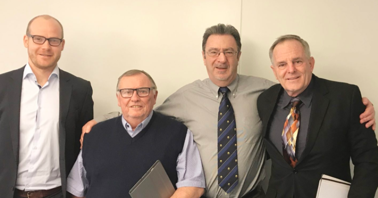 AIBA executive director Tom Virgets, right, along with officials including his counterpart at the Association of Summer Olympic International Federations Andrew Ryan, second right ©AIBA