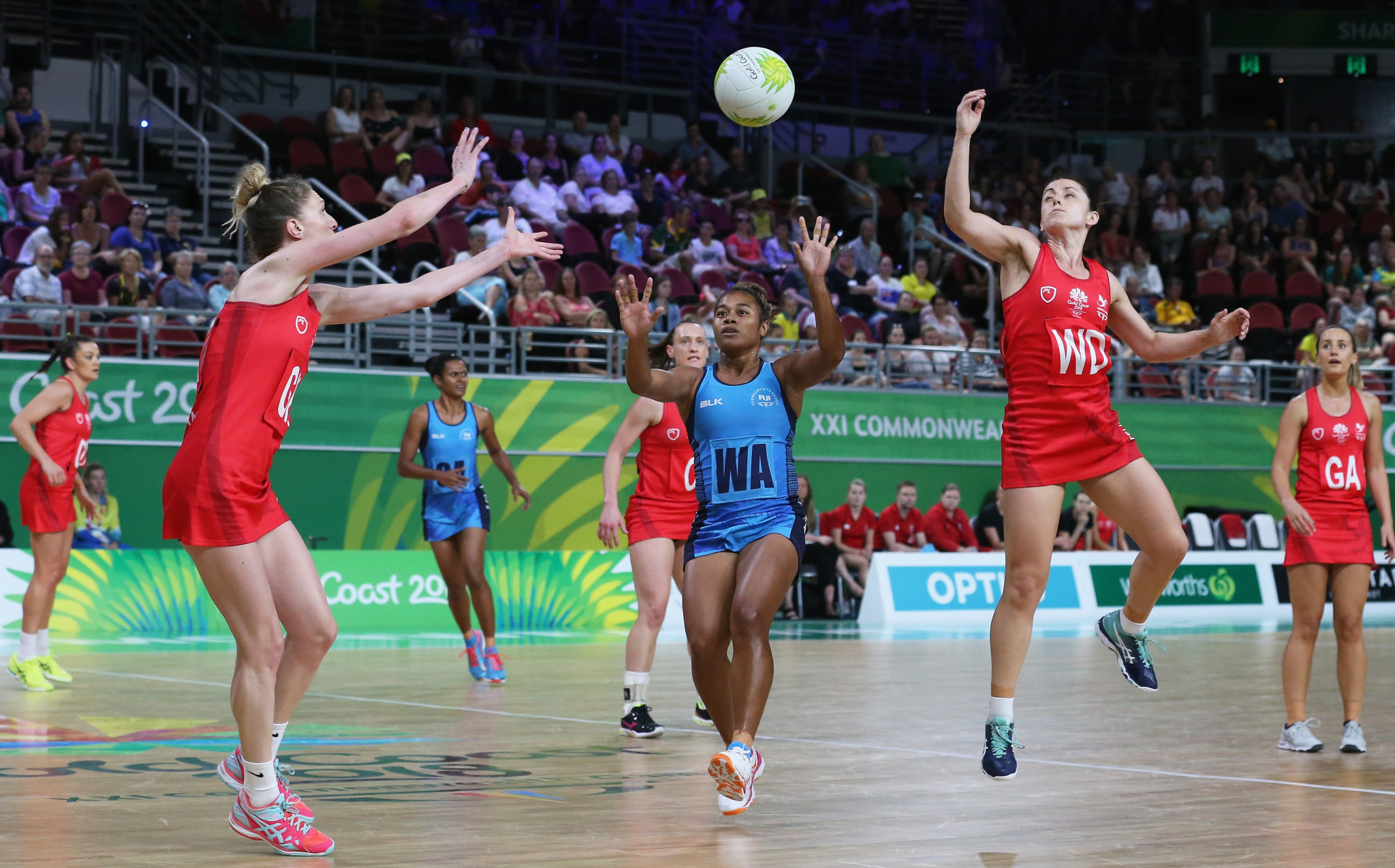 Fiji, pictured in blue at this month's Commonwealth Games, made a winning start to their Oceania Qualifier in Auckland for next year's Netball World Cup ©Getty Images