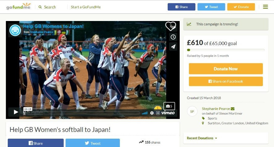 Britain's women's softball team have launched a crowdfunding campaign to try to help them qualify for the 2020 Olympic Games in Tokyo but they still have a long way to go ©Go Fund Me