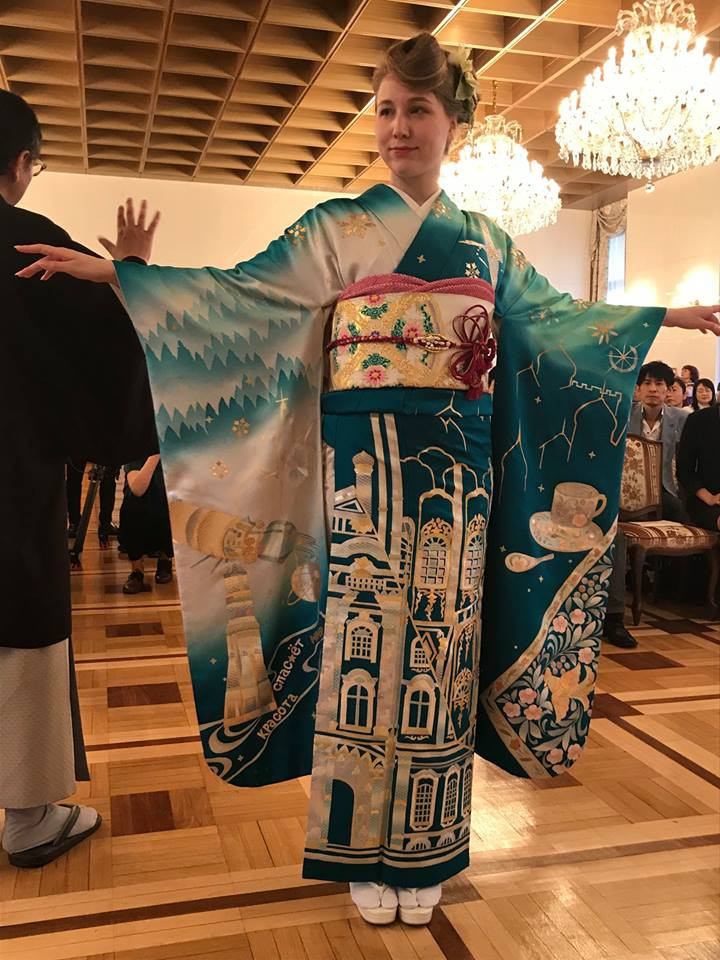 Russian model Mardanova Asiya wore the first kimono produced for a country competing at the 2020 Olympics in Tokyo - eventually it is hoped one will be made for all 206 nations taking part in the Games ©Facebook