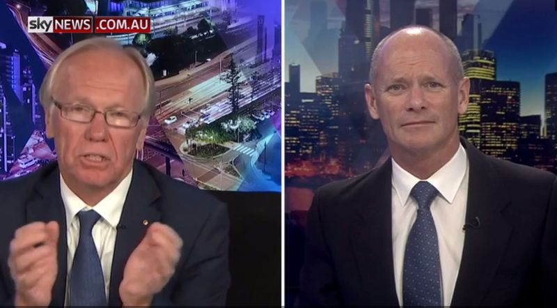 Peter Beattie, the chairman of Gold Coast 2018, left, appeared on Sky News in Australia to claim criticism of the Commonwealth Games Closing Ceremony had gone too far ©Sky News