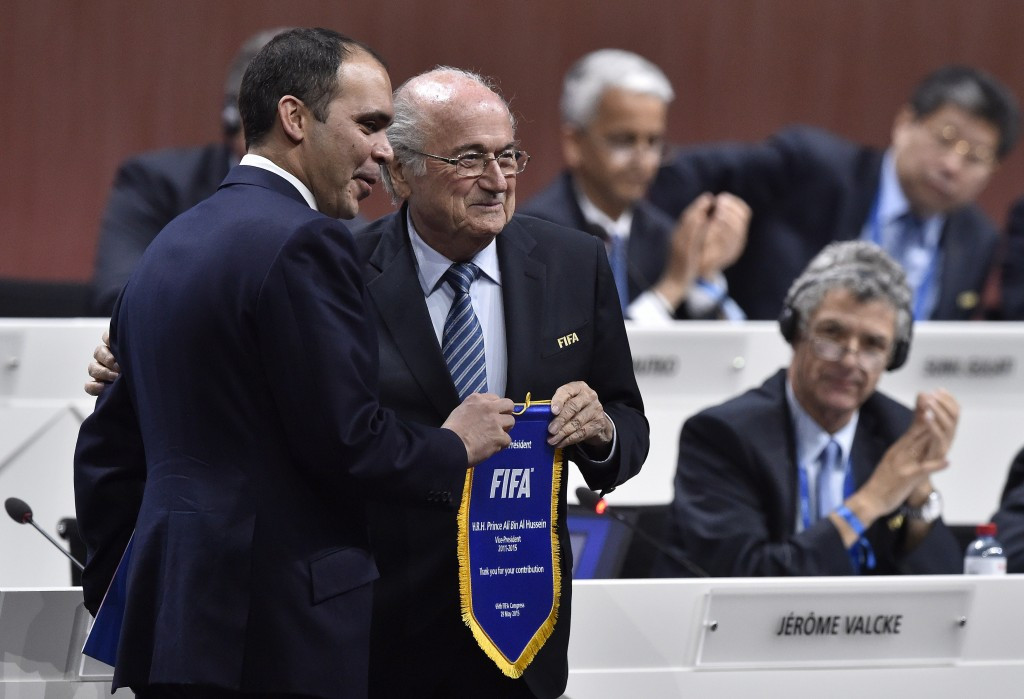 Prince Ali (left) was well beaten by Sepp Blatter during the FIFA Congress in Zurich in May ©AFP/Getty Images