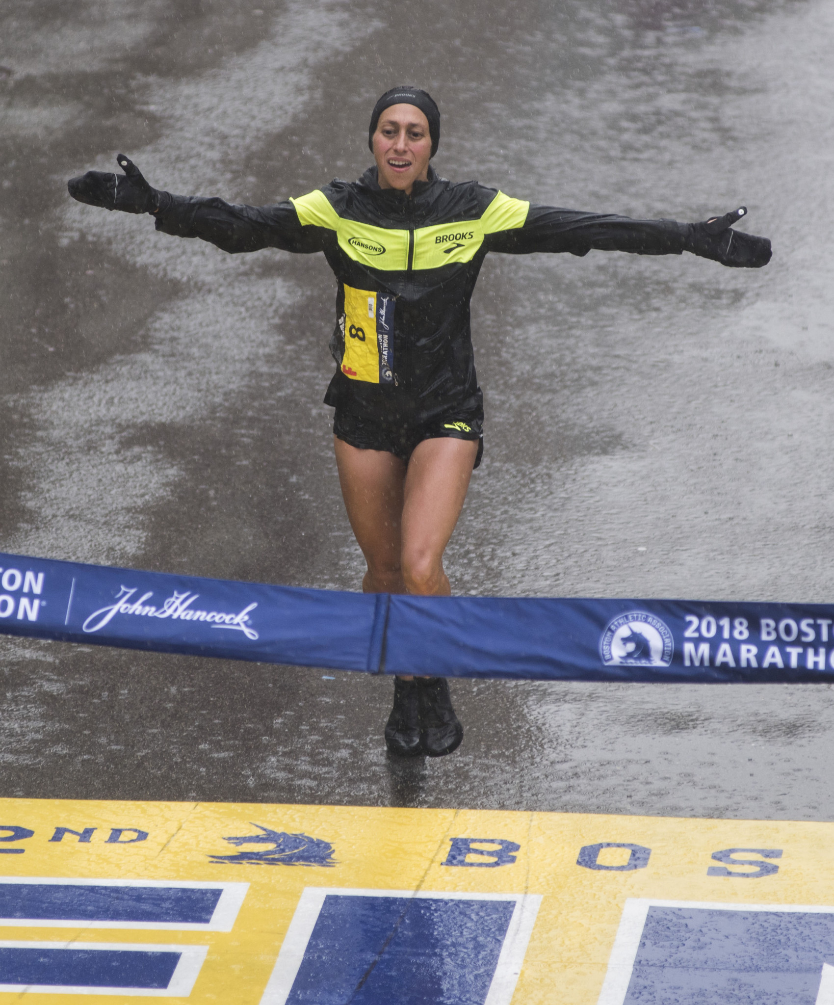 Raining champion - seven years after missing the Boston Marathon title by two seconds, Desiree Linden takes the prize ©Getty Images