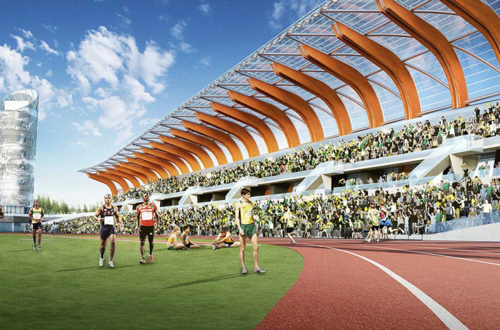 How the proposed new venue at Hayward Field will look when it hosts the IAAF World Championships in 2021 ©University of Oregon