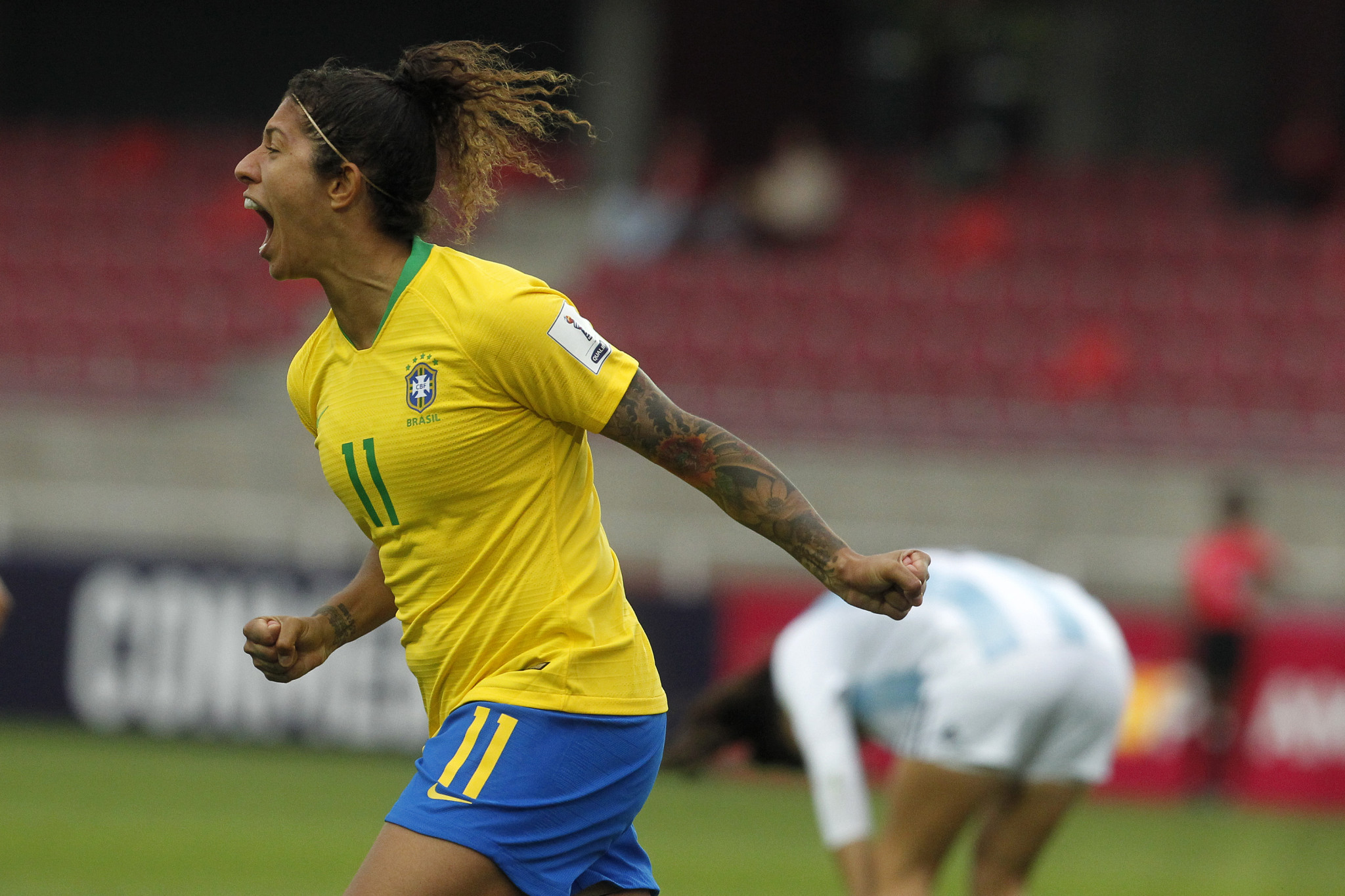 Cristiane scored Brazil's first goal in their 3-0 victory over Argentina to qualify for next year's FIFA World Cup ©Getty Images