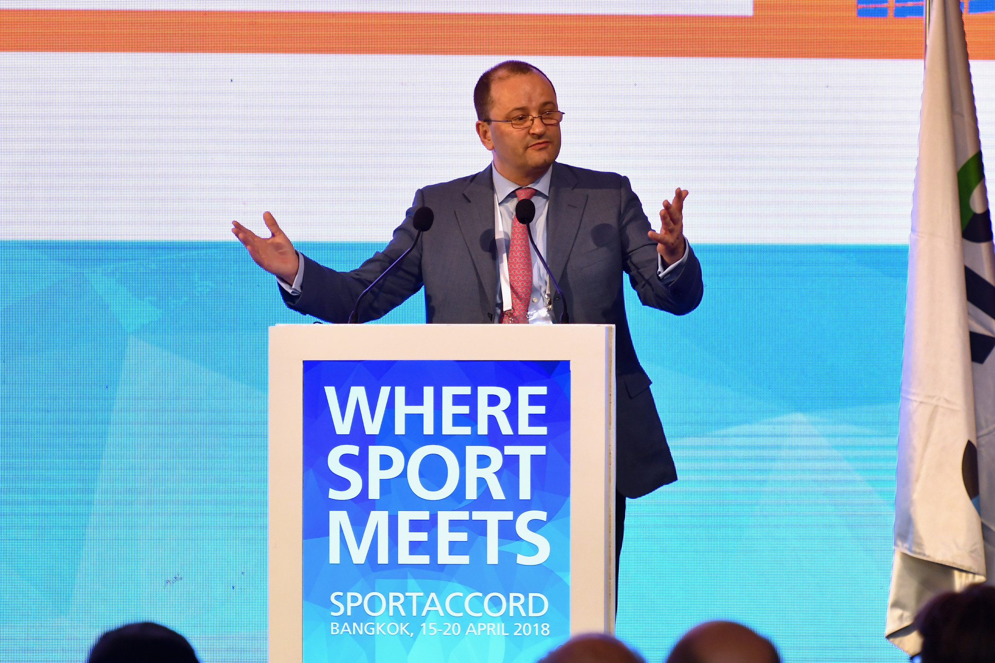 President Patrick Baumann led the Global Association of International Sports Federations' (GAISF) General Assembly on the final day of SportAccord Summit in Bangkok ©SportAccord/Flickr