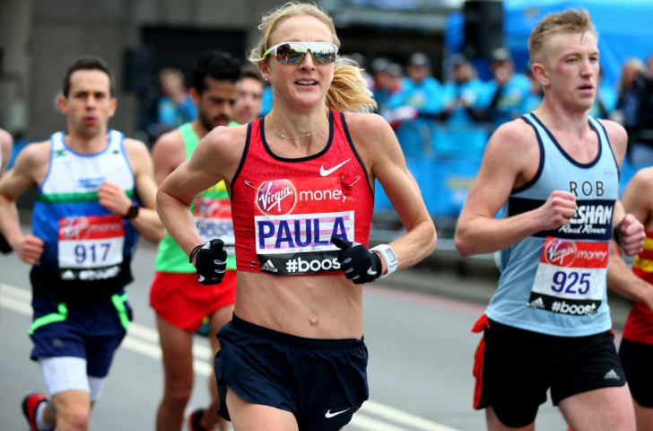 Paula Radcliffe en route to her final London Marathon as an elite athlete in April this year ©Getty Images