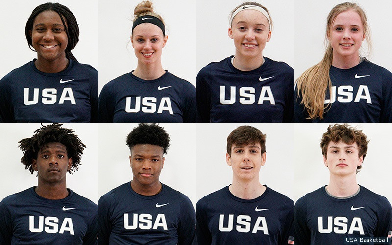 Aliyah Boston, Samantha Brunelle, Paige Bueckers, Hailey Van Lith, Dudley Blackwell, Jyare Davis, Patrick McCaffery and Carson McCorkle will represent the USA in 3x3 basketball at Buenos Aires 2018 ©USA Basketball
