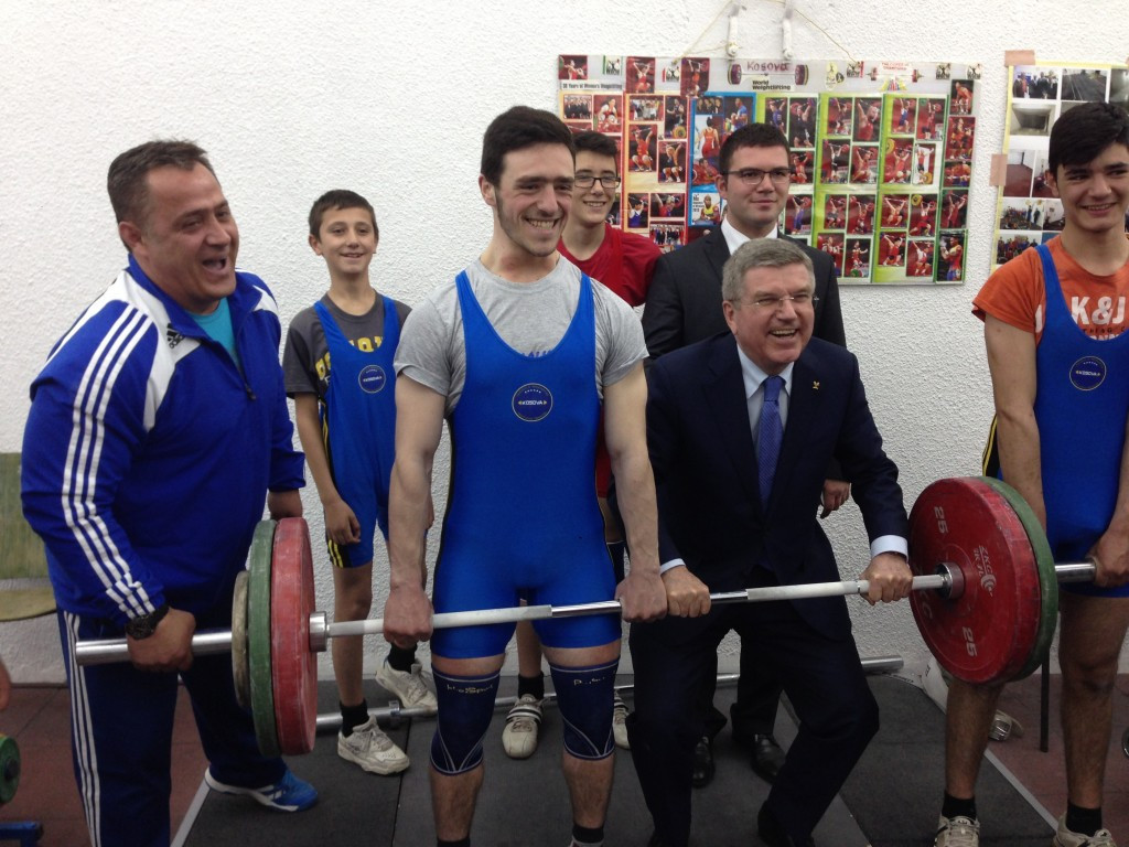 IOC President Thomas Bach visited a group of weightlifters in Kosovo in 2015 and has warned the Olympic Movement will not tolerate countries being barred from competing on political grounds ©IWF