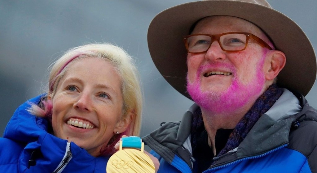 Tom Kelly, vice-president of communications at U.S. Ski & Snowboard, kept a promise at Pyeongchang 2018 to dye his hair pink after America won its first Olympic gold medal in cross-country skiing ©Twitter