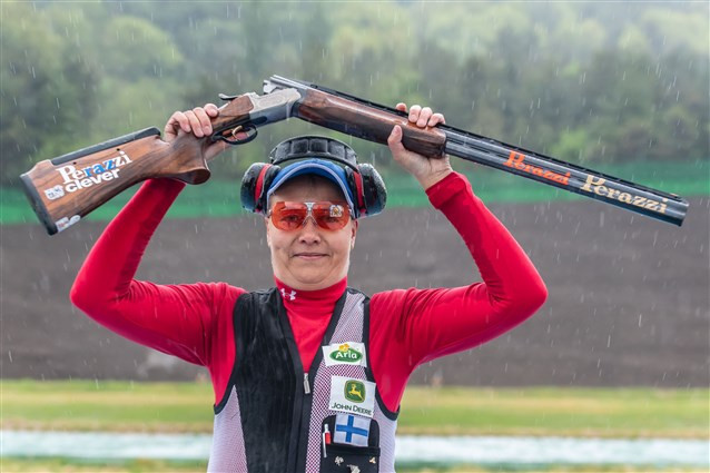 Finland's Satu Makela-Nummela celebrates her first ISSF World Cup victory since 2016 after winning the women's trap in Changwon ©ISSF