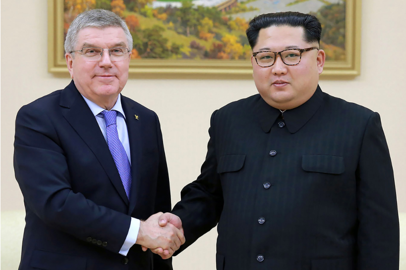 IOC President Thomas Bach, left, met with North Korea's Supreme Leader Kim Jong-un in Pyongyang last month ©Getty Images