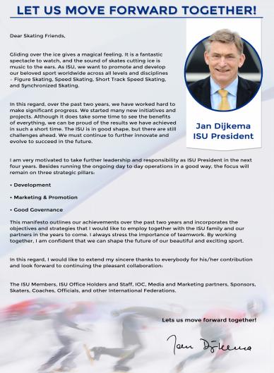 Jan Dijkema has also published his manifesto for the ISU Presidency ©ISU