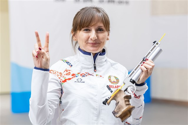 Viktoria Chaika mounted a late comeback to win the women's 10m air pistol title ©ISSF