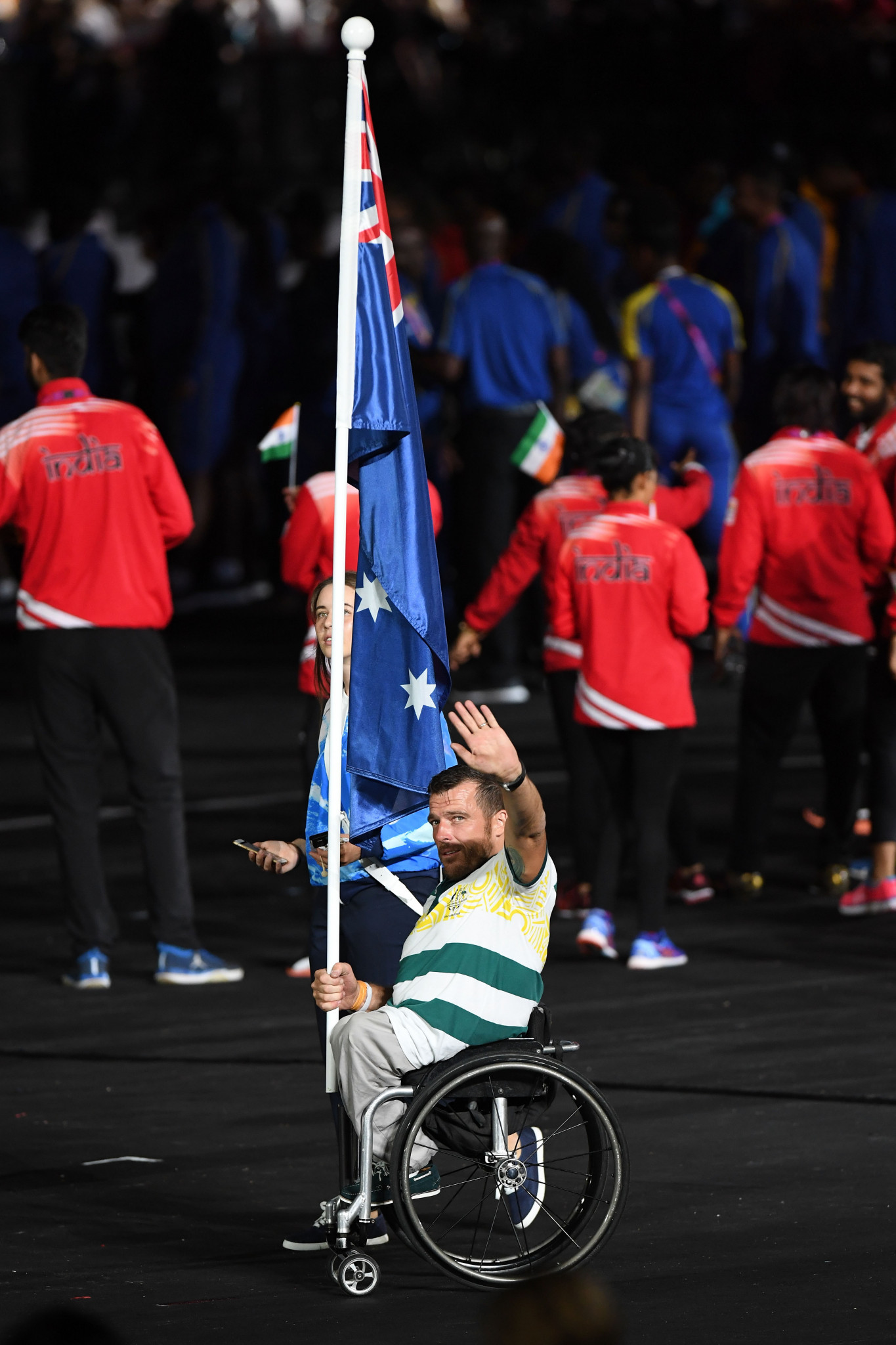 Kurt Fearnley was given the honour of carrying Australia's flag during the Closing Ceremony of the Gold Coast 2018 Commonwealth Games ©Getty Images