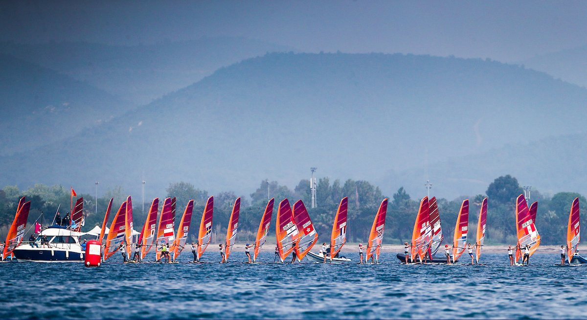 The women's R:SX fleet pictured competing today ©World Sailing