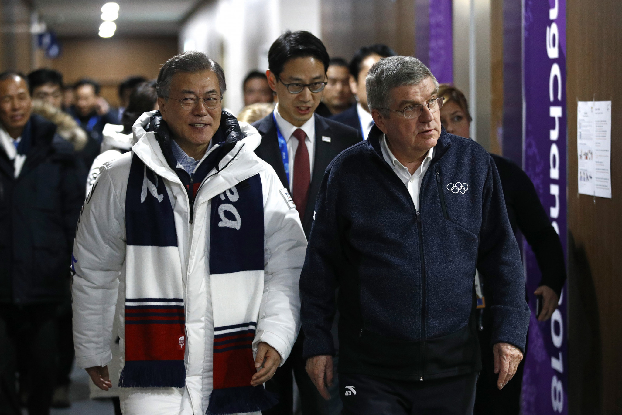 Moon Jae-in joined Thomas Bach in attending the Pyeongchang 2018 Closing Ceremony ©Getty Images