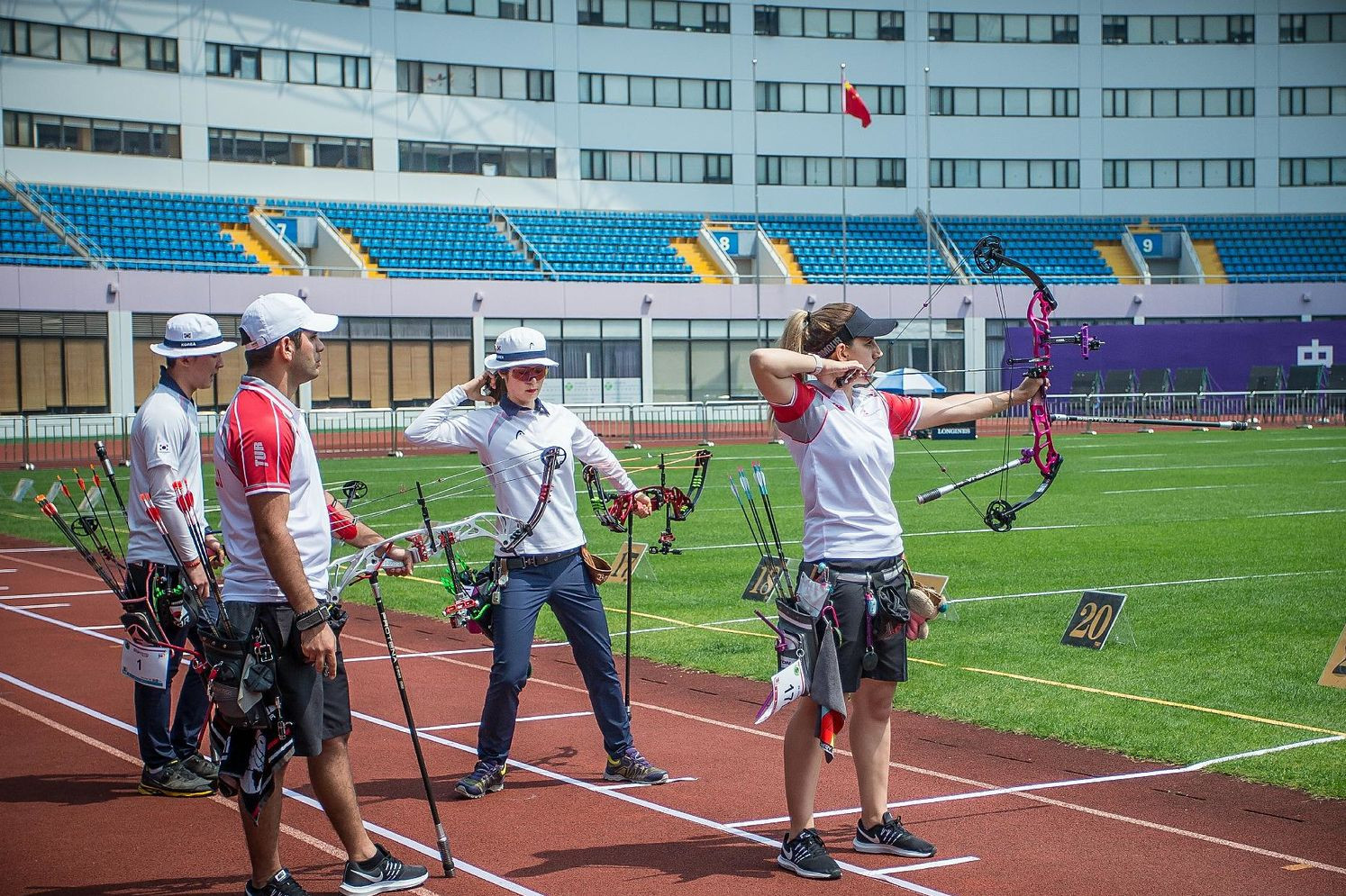 South Korea and Turkey played out an incredibly close compound mixed team semi-final ©World Archery