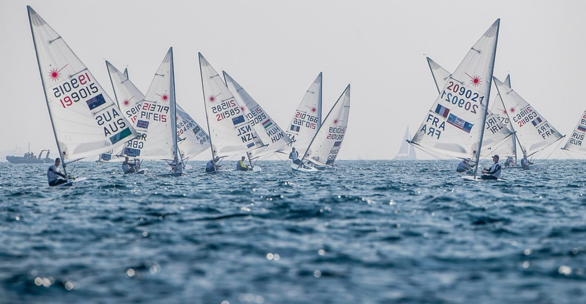 The laser field remains tightly packed ©World Sailing/Twitter