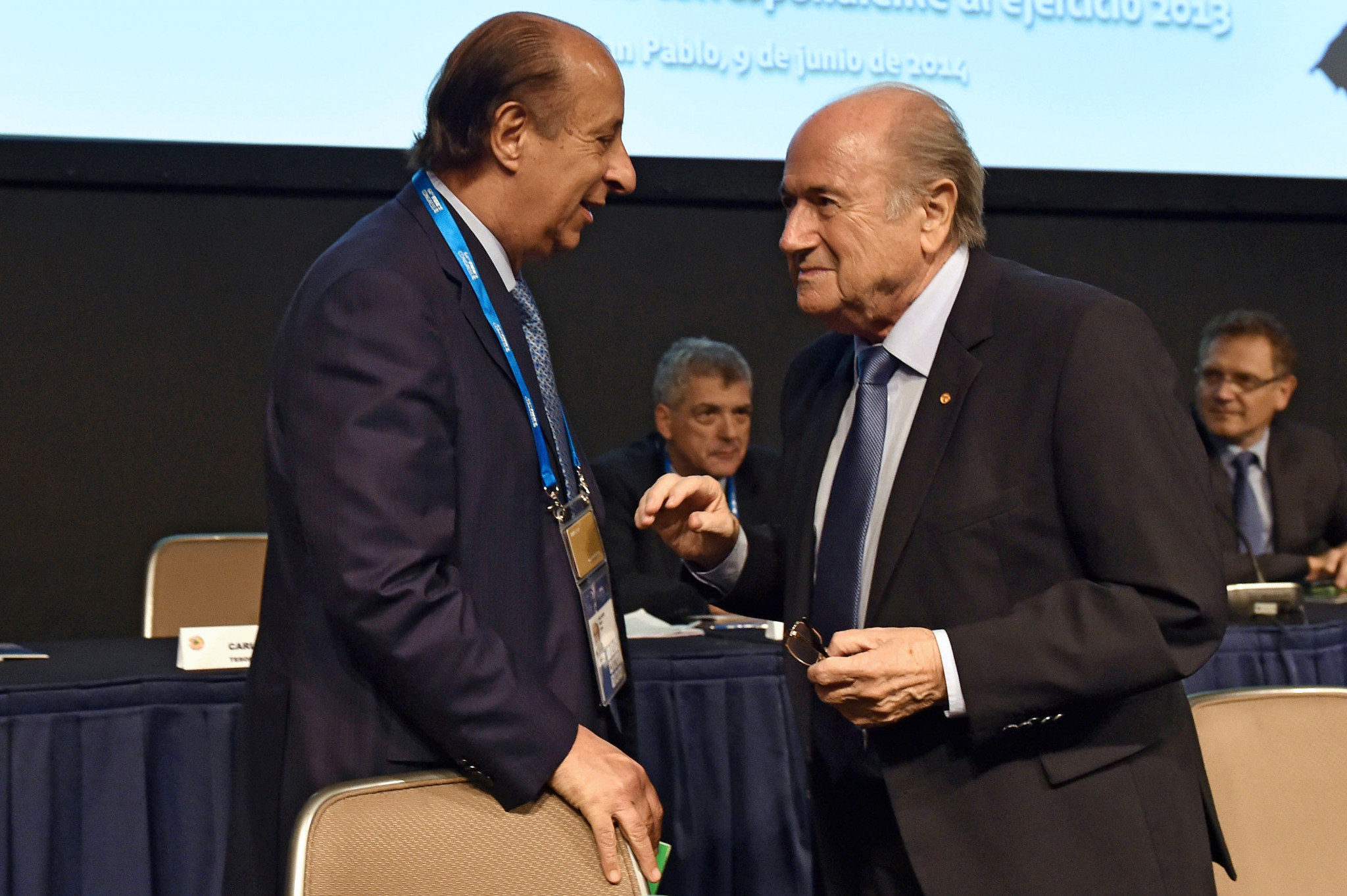 Marco Polo Del Nero, left, pictured with then-FIFA President Sepp Blatter in 2014 ©Getty Images