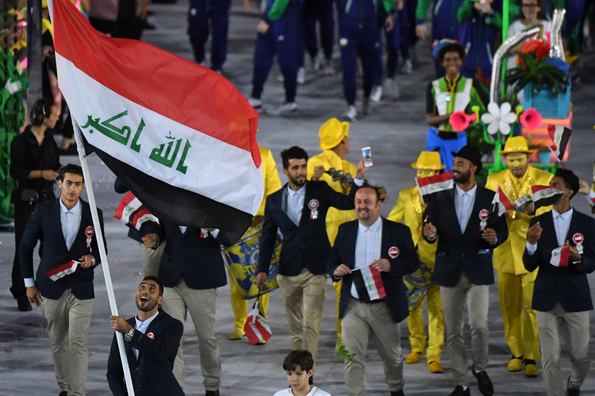 Iraqi athletes pictured marching at the Opening Ceremony of the Rio 2016 Olympic Games ©Getty Images