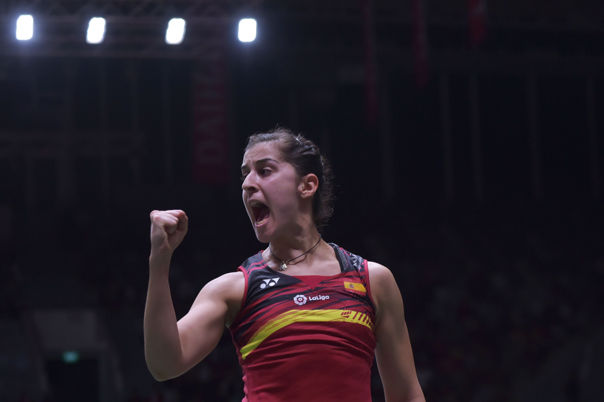 Top seed Carolina Marín is through to the final of the women's singles event at the European Badminton Championships at a venue in Huelva named after her ©Getty Images