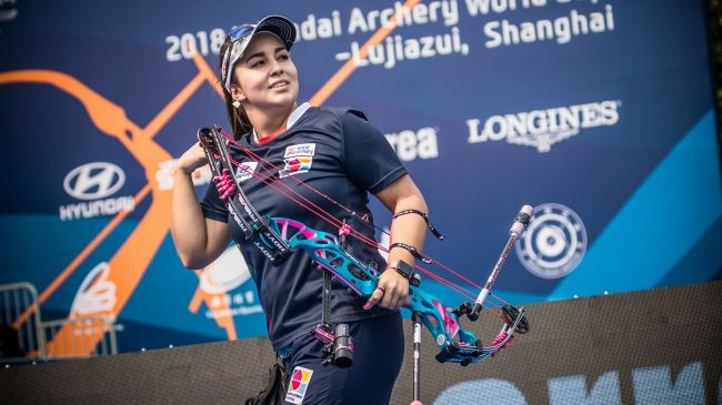Sara Lopez of Colombia won a fourth compound individual title at the Shanghai leg of the World Archery World Cup series ©World Archery