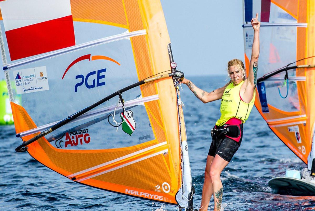 Poland's Zofia Klepacka won the women's R:SX windsurfing class ©World Sailing/Twitter