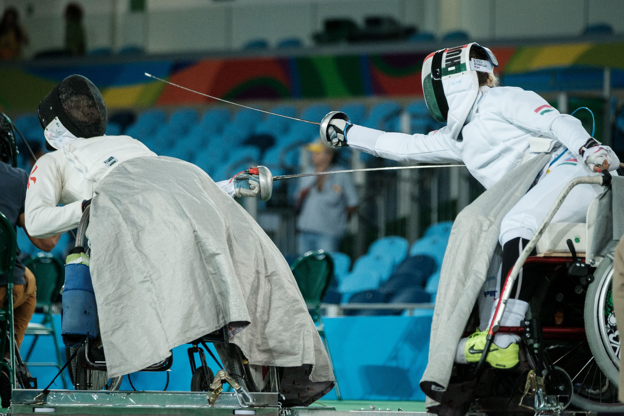 Amarilla Veres, right, helped Hungary to victory in the women's sabre team event ©Getty Images