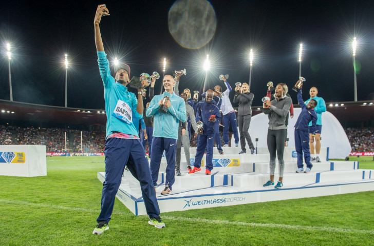 Qatar's Mutaz Barshim gets a selfie with fellow IAAF Diamond League winners in Zurich - but what will the picture look like beyond 2019, when the current contract runs out? ©Getty Images