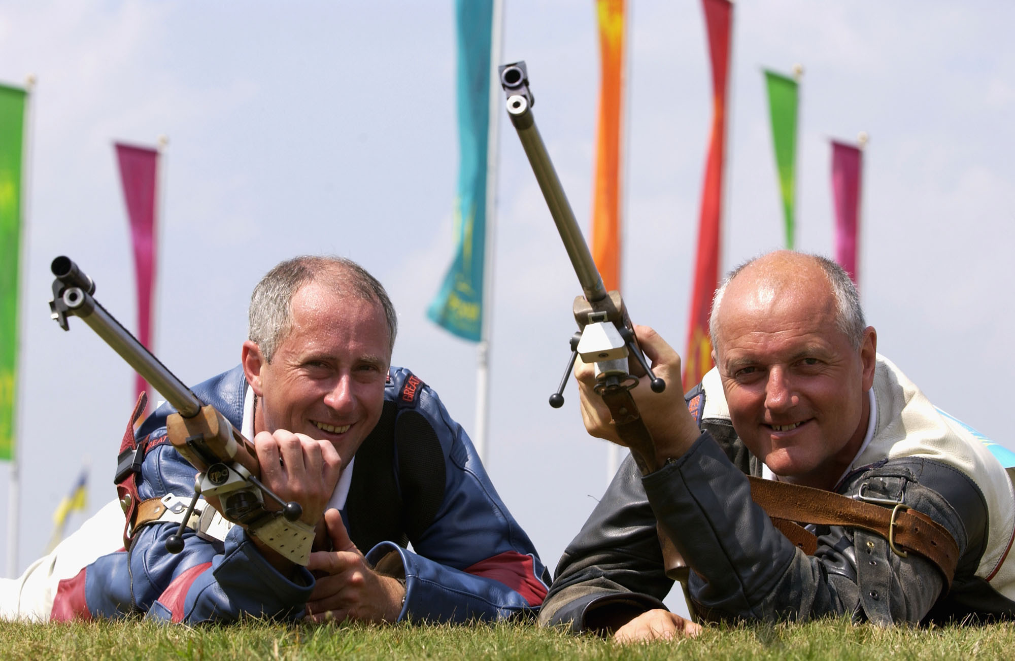 Bisley hosted shooting when Manchester staged the 2002 Commonwealth Games, when Northern Ireland's David Calvert, right, and partner Martin Millar, left, won the gold medal in the open full bore rifle pairs ©Getty Images