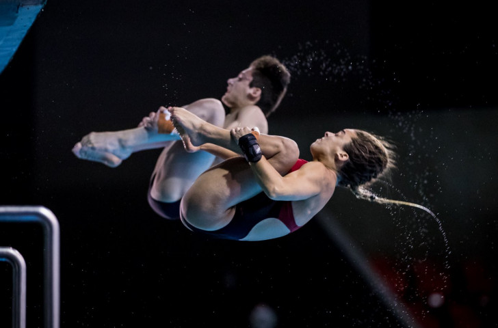 Nathan Zsombor-Murray and Meaghan Benfeito earned gold for Canada in the mixed 10m synchro event at the FINA Diving World Series event at Montreal's Olympic pool ©Getty Images