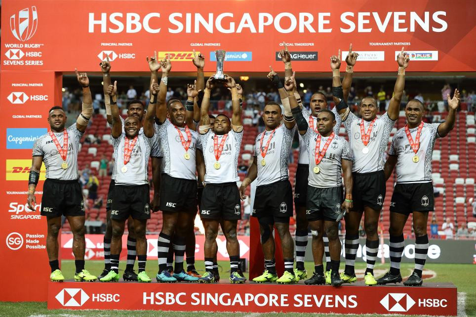 High drama as Fiji win third consecutive World Rugby Sevens Series in Singapore